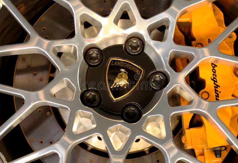 Logo of Lamborghini on wheels stock photos