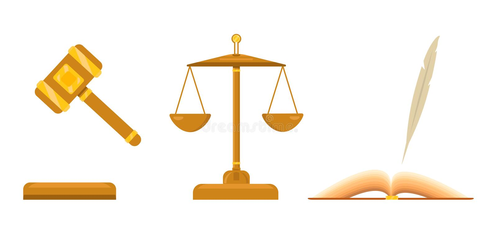 Logo for lawyer firm. Law and justice scales. Open book with pen, feather. Judicial hammer with golden elements stock illustration