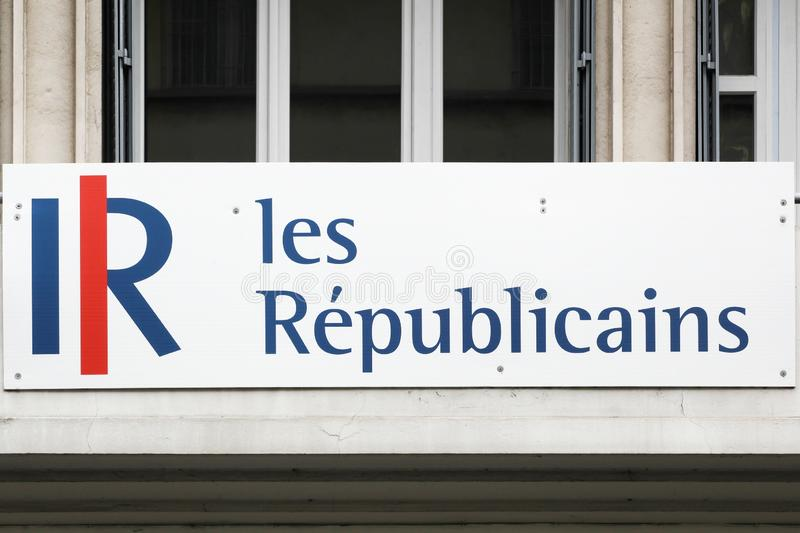Logo of Les republicains on a building. Bourg, France - April 7, 2019: Logo of Les republicains on a building. Les republicains also called LR is a centre-right royalty free stock photo