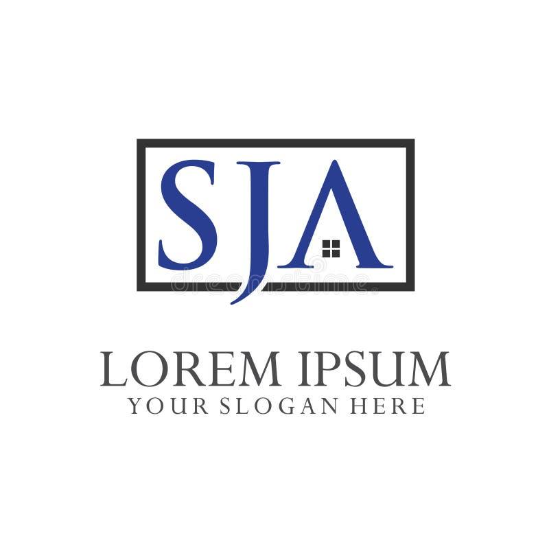 Logo Letter Combinations S, J e A 3 combinações de letra ilustração do vetor