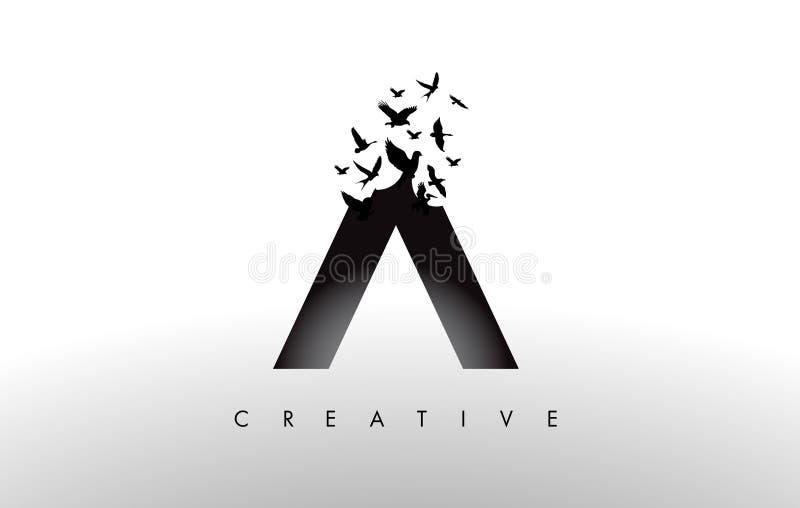Logo Letter con la multitud de los pájaros que vuelan y que se desintegran de stock de ilustración