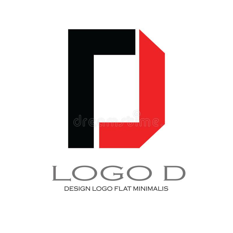 Logo letter D Flat Minimalis Elegant. Logo letter D for template your logo the bost design and logos for your company. Flat and minimalis, vector. Black Vector stock illustration