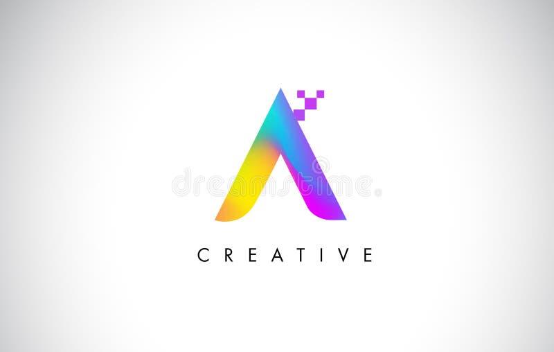 Logo Letter Design Vector colorido Pendiente creativa del arco iris stock de ilustración