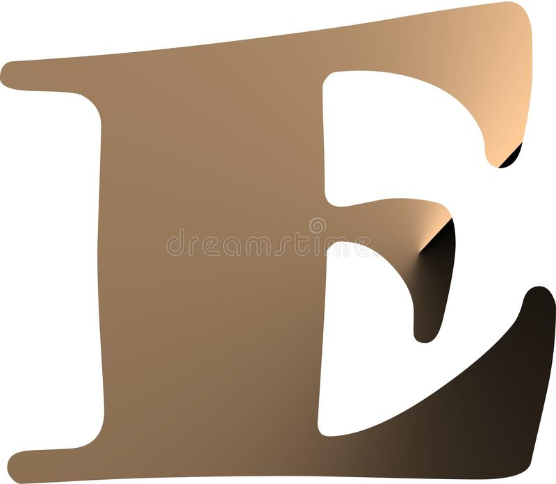 Logo with letter E. brown color with 3D effect. royalty free illustration