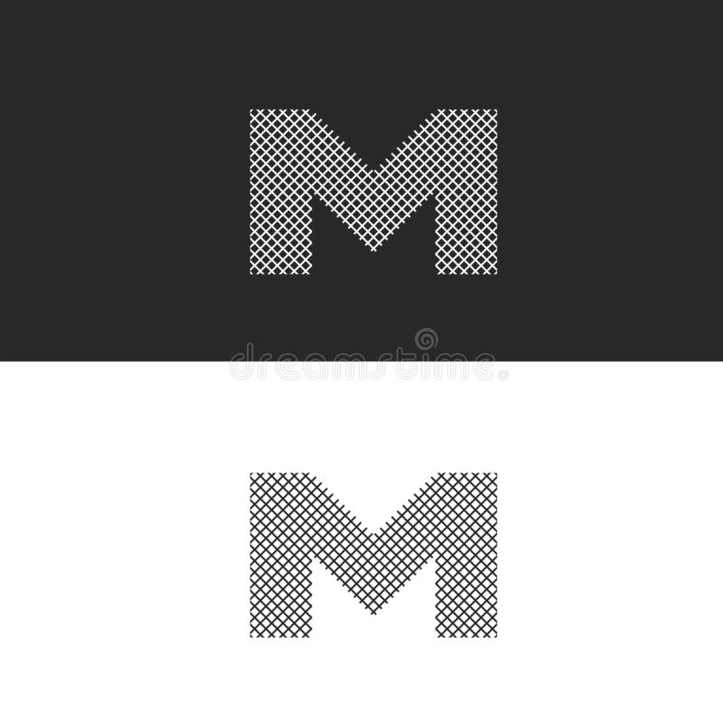 Logo letter M monogram, black and white intertwined thin lines, hipster emblem for business cards vector illustration