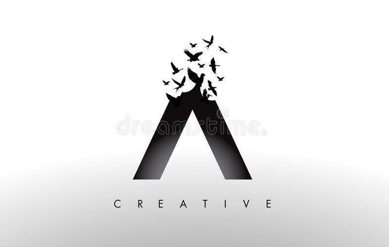 Logo Letter mit Menge von den Vögeln, die von fliegen und sich auflösen stock abbildung