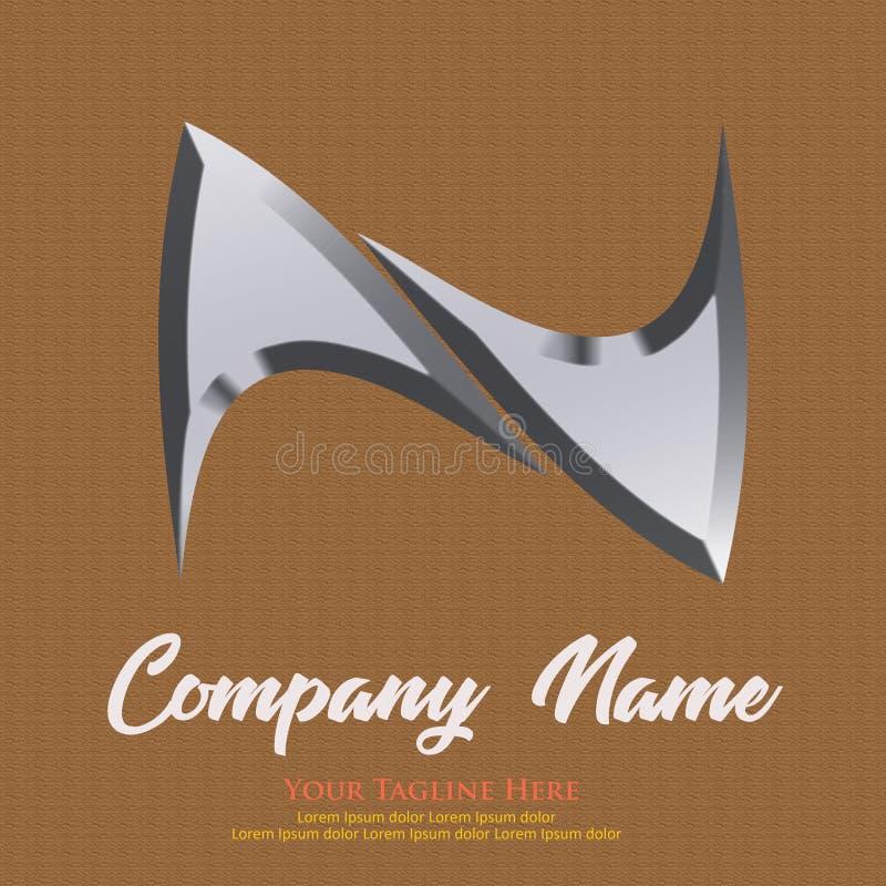 Logo with Letter N Silver vector illustration