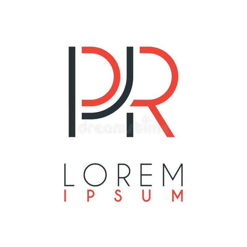 The logo between the letter P and letter R or PR with a certain distance and connected by orange and gray color royalty free illustration