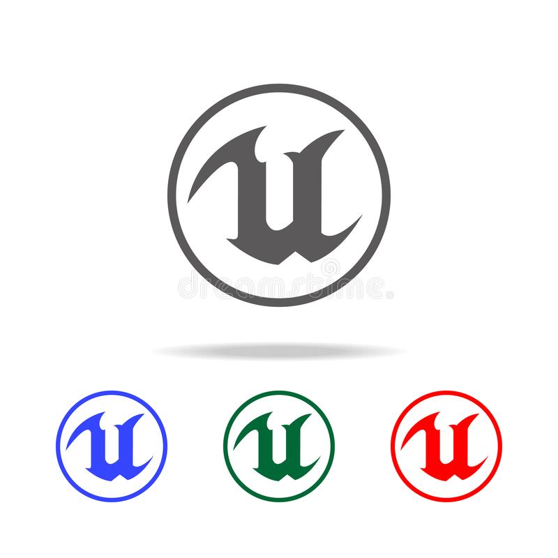 Logo for letter U icon. Elements of game life in multi colored icons. Premium quality graphic design icon. Simple icon for website royalty free illustration