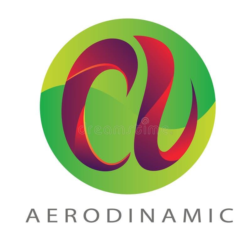 Logo Letter une couleur de cercle vert-rouge illustration libre de droits