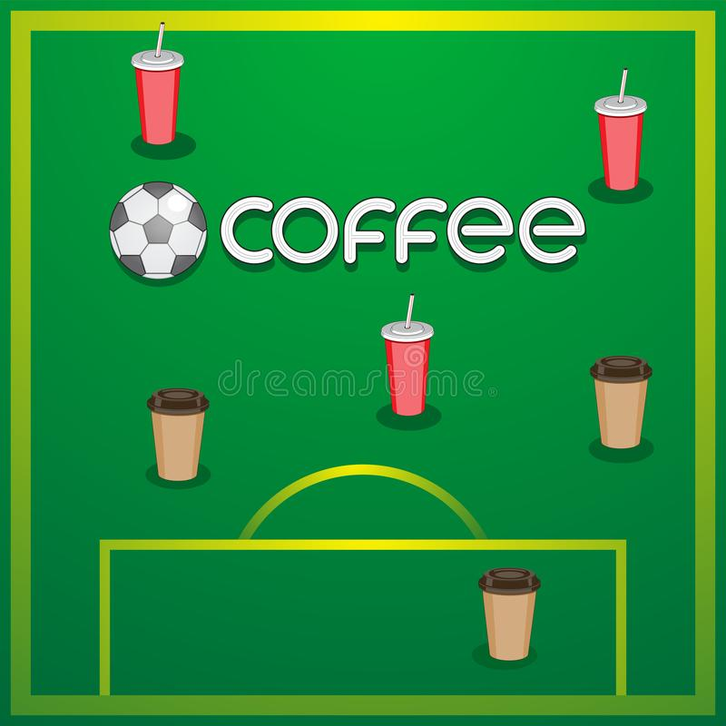 Logo lettering coffee soccer ball football field coffee cups on isolated background. Vector image stock illustration