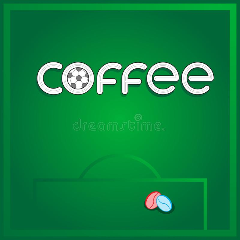 Logo lettering coffee soccer ball football field coffee grain on isolated background. Vector image. Eps 10 stock illustration