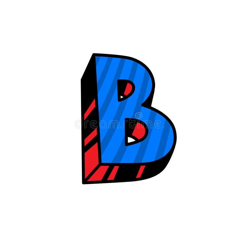 Logo, lettre B Vecteur Linéaire, icône d'ensemble Marque volumétrique, 3D Majuscule de couleur Illustration avec le modèle Symbol illustration libre de droits