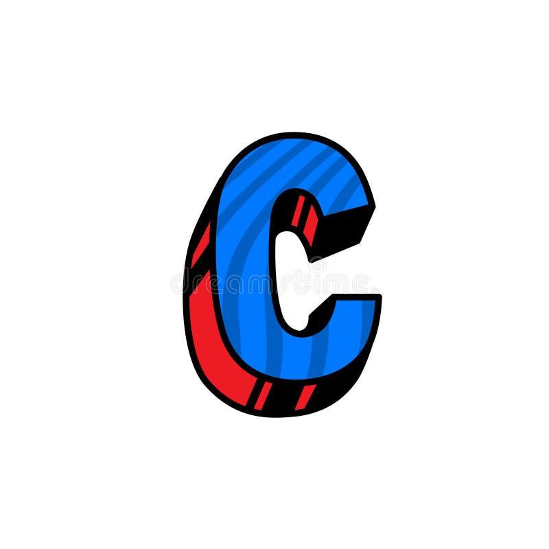 Logo, lettre C Vecteur Linéaire, icône d'ensemble Marque volumétrique, 3D Majuscule de couleur Illustration avec le modèle Symbol illustration stock
