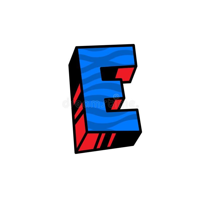 Logo, lettre E Vecteur Linéaire, icône d'ensemble Marque volumétrique, 3D Majuscule de couleur Illustration avec le modèle Symbol illustration stock
