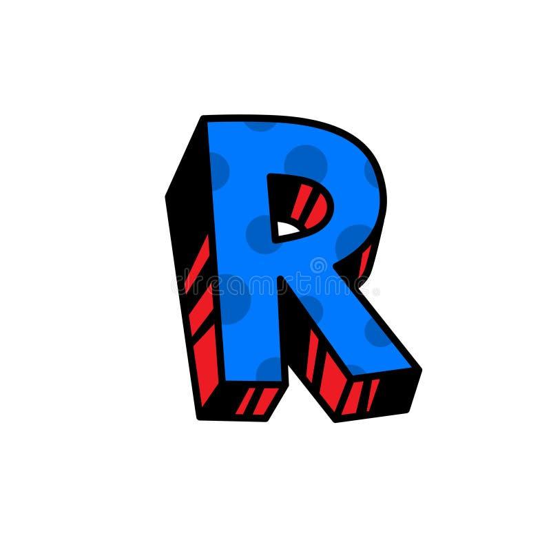 Logo, lettre R Vecteur Linéaire, icône d'ensemble Marque volumétrique, 3D Majuscule de couleur Illustration avec le modèle Symbol illustration de vecteur