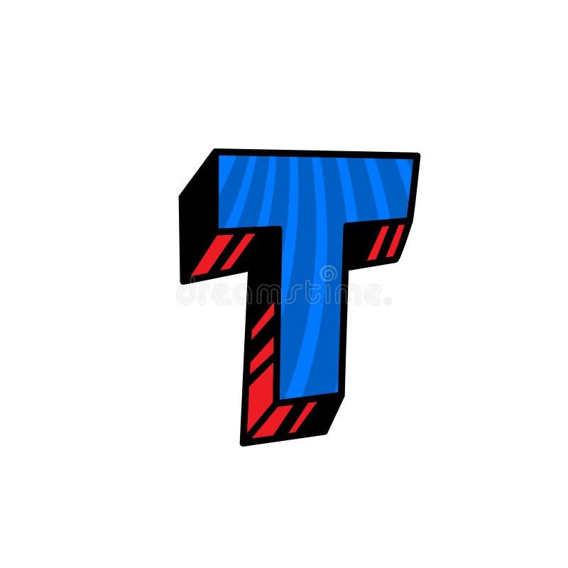 Logo, lettre T Vecteur Linéaire, icône d'ensemble Marque volumétrique, 3D Majuscule de couleur Illustration avec le modèle Symbol illustration de vecteur