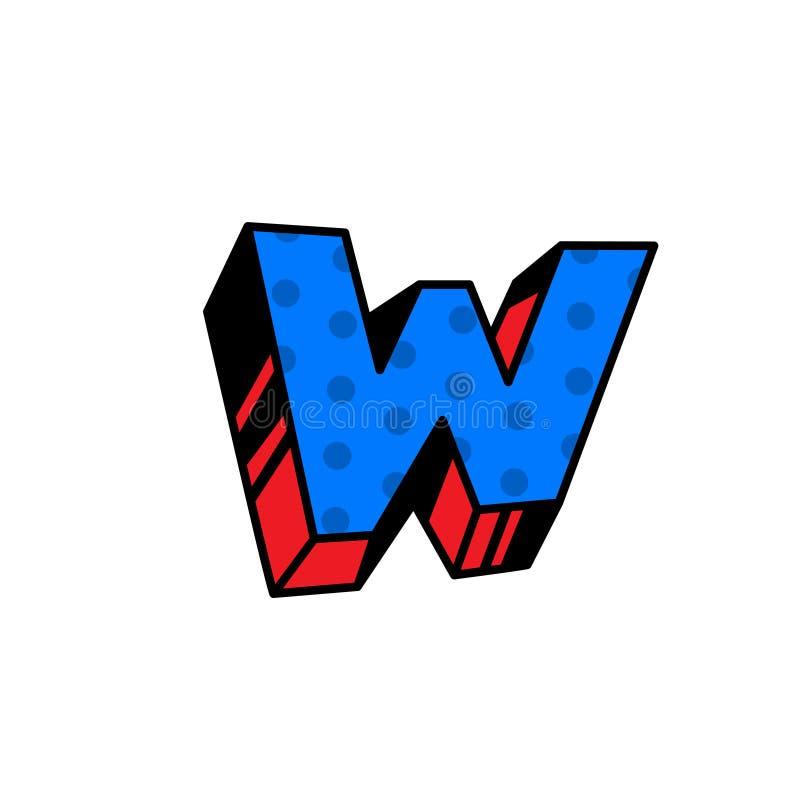 Logo, lettre W Vecteur Linéaire, icône d'ensemble Marque volumétrique, 3D Majuscule de couleur Illustration avec le modèle Symbol illustration de vecteur