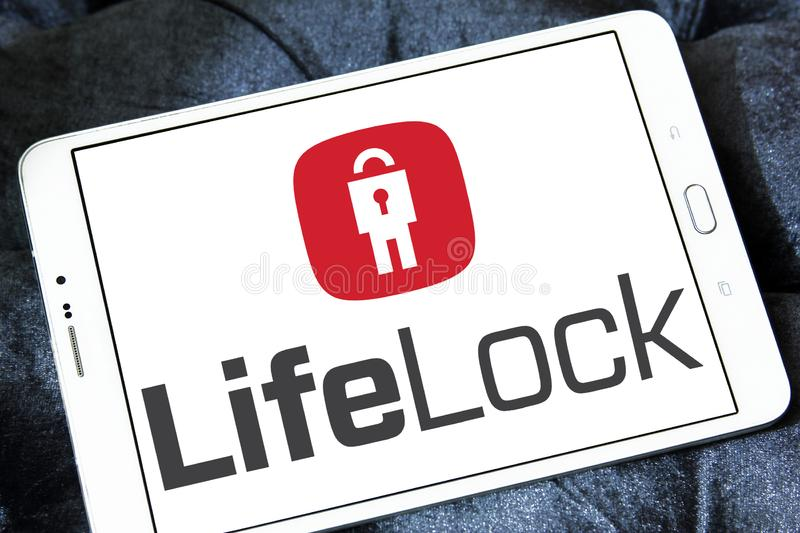 LifeLock company logo. Logo of LifeLock company on samsung tablet . LifeLock is an American identity theft protection company. it offers the LifeLock identity stock images