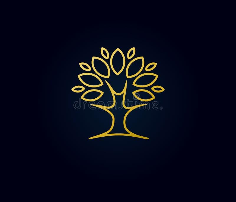 Logo linéaire d'arbre d'or illustration de vecteur