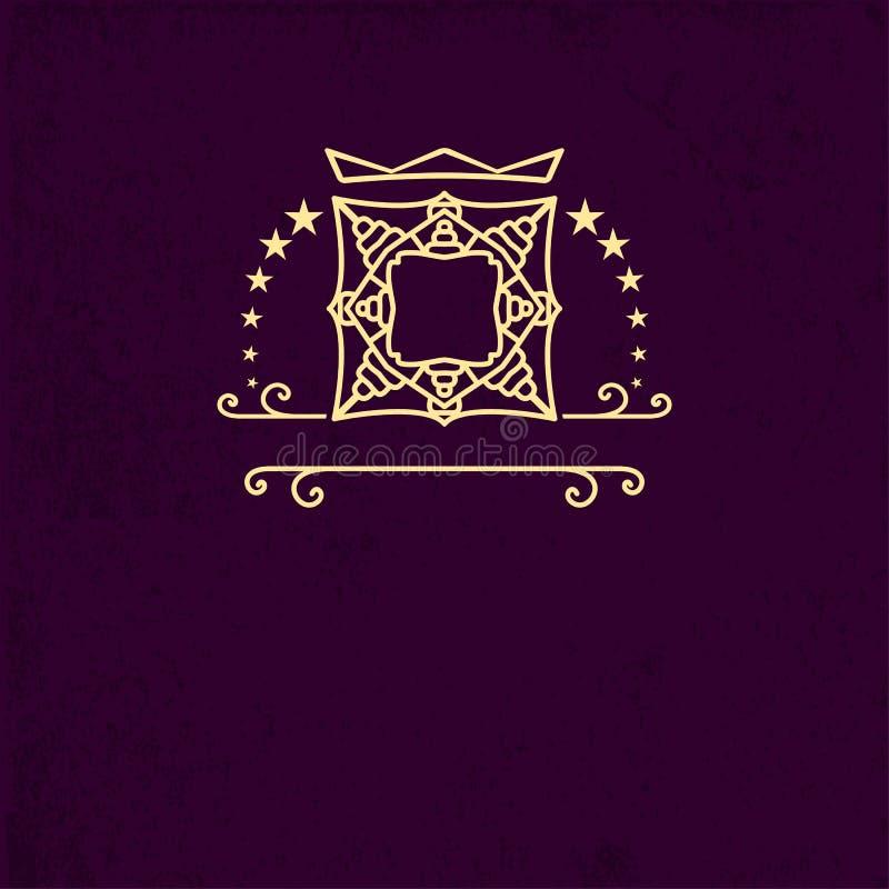 Logo linéaire de luxe de monogramme, icône de société Cadre décoratif pour le menu de restaurant, hôtel, bijoux, mode, label, sig illustration stock