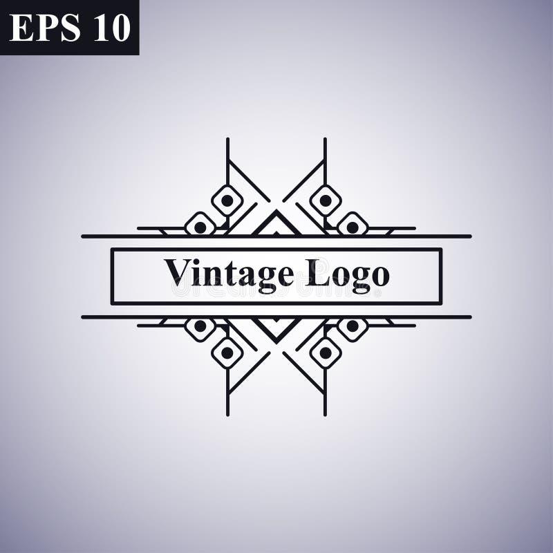 Logo linéaire de vecteur de rétro de cru d'art déco cru géométrique minimal monochrome antique ornemental de luxe de hippie illustration de vecteur