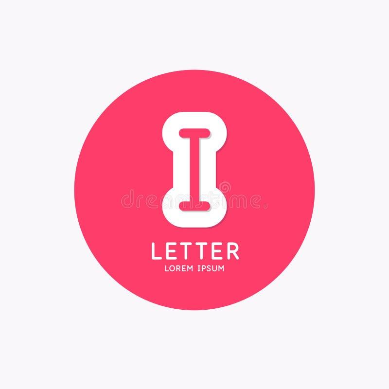 Logo linéaire moderne et signer la lettre je illustration stock