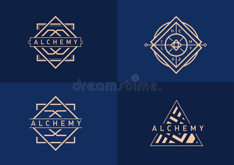 Logo linéaire réglé sur l'alchimie illustration stock