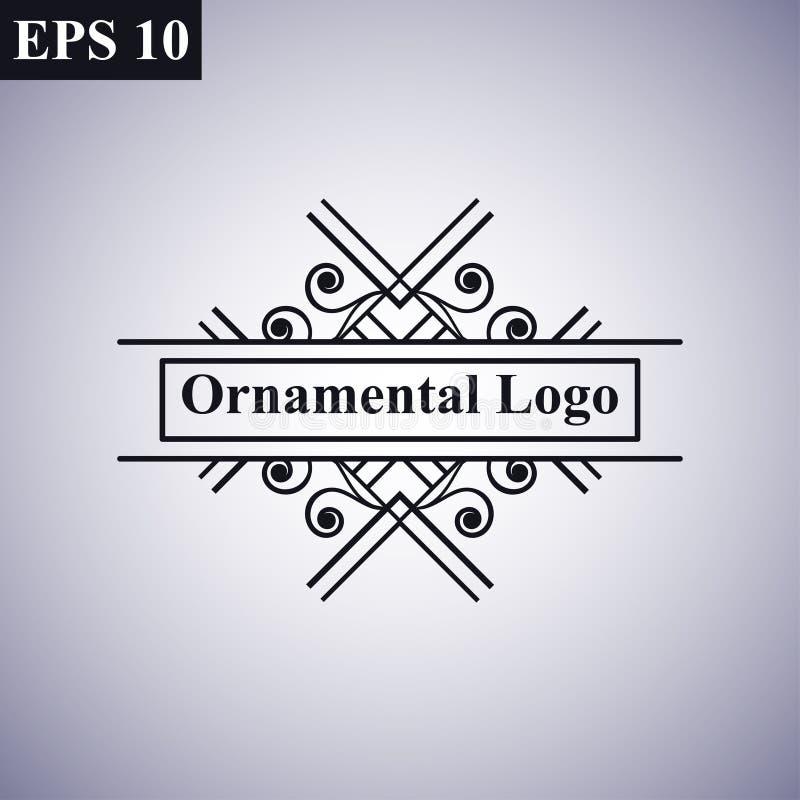 Logo lineare d'annata geometrico minimo di vettore dei retro dell'annata pantaloni a vita bassa monocromatici antichi ornamentali illustrazione di stock
