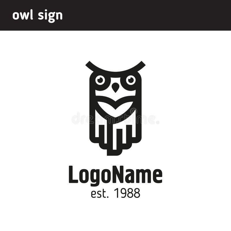 Logo lineare del gufo illustrazione di stock