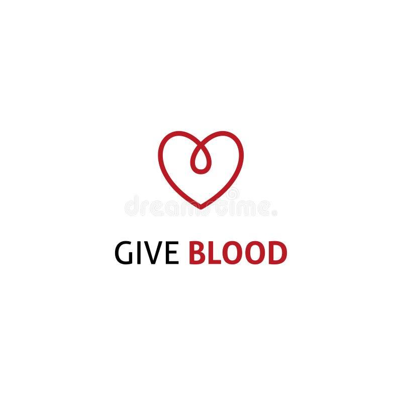 Logo lineare di goccia del cuore dell'icona di donazione di sangue illustrazione di stock