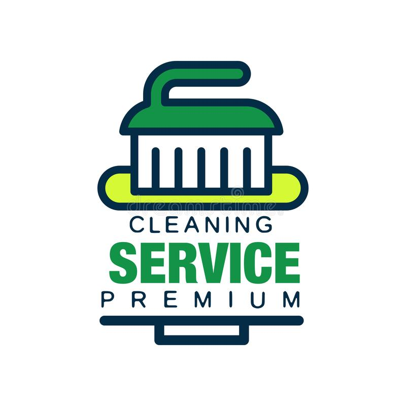 Logo lineare per l'agenzia di pulizia con la spazzola Aiuto professionale del pulitore per governo della casa Servizi di qualità  royalty illustrazione gratis