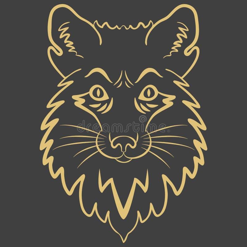 Logo lisa g?owa Stylizowana maskotka, wektorowa ikona ilustracja wektor
