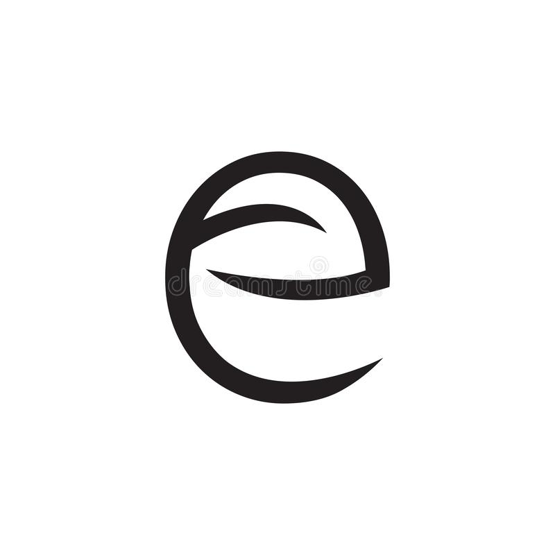 Logo listowy E z liśćmi i strzałami - wektor royalty ilustracja