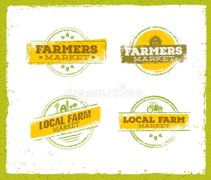 Logo local de ferme, concept local de nourriture de ferme, vecteur créatif de ferme locale, élément local de conception de ferme  illustration de vecteur