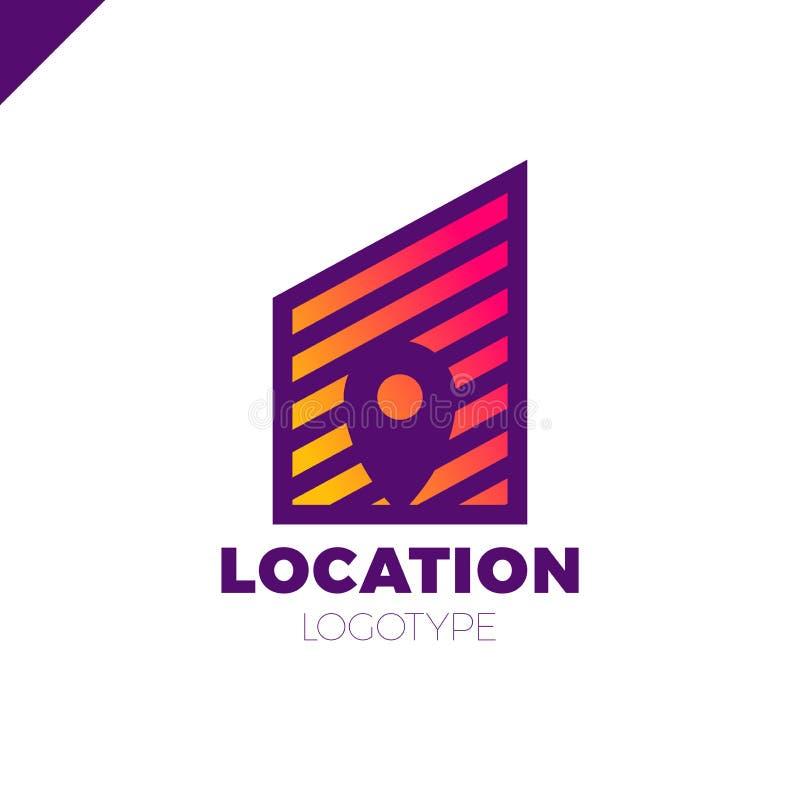 Logo Location-bouwt het kaart negatieve ruimtesymbool in de lijnstad vectorontwerpmalplaatje Geo-punt logotype met tarief of graf vector illustratie