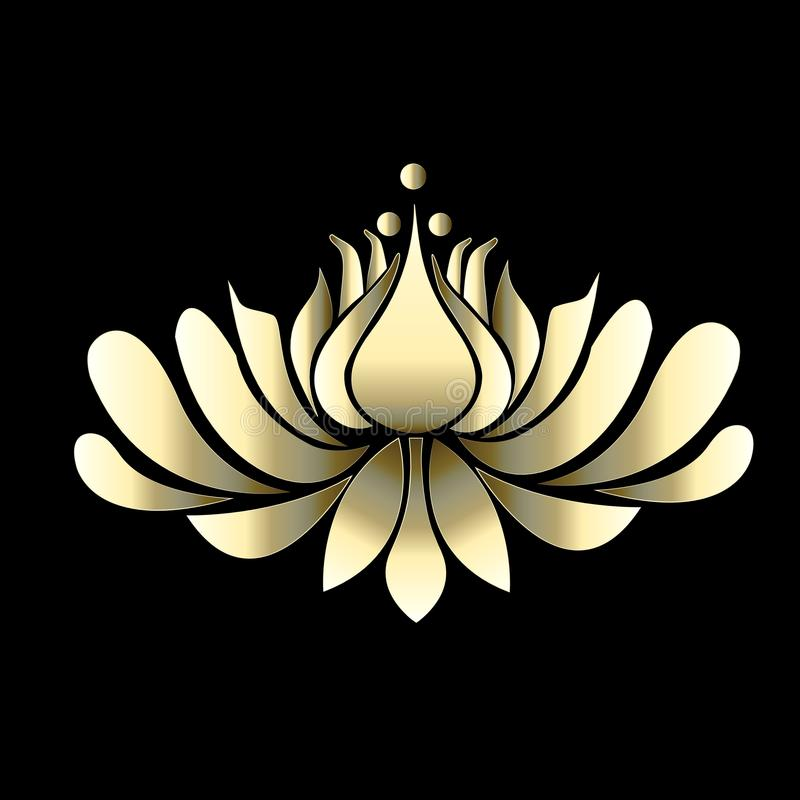 Logo lotus flower gold luxury vector image illustration graphic design stock illustration