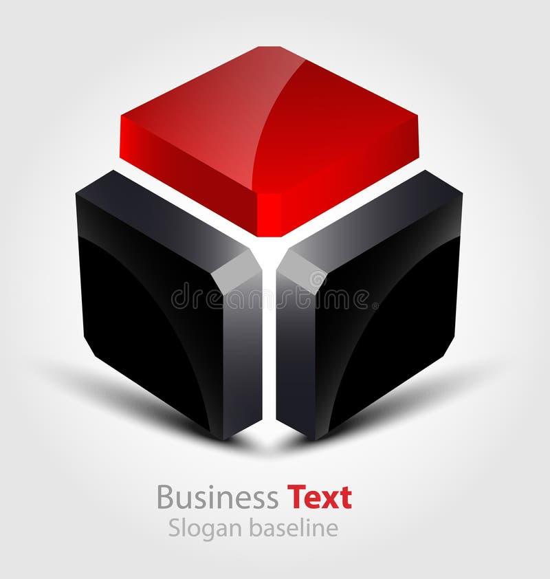Logo lucido astratto di vettore 3D di affari 3D illustrazione vettoriale