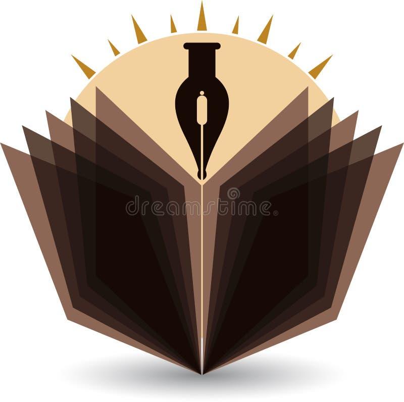 Logo lumineux de stylo et de livre illustration de vecteur