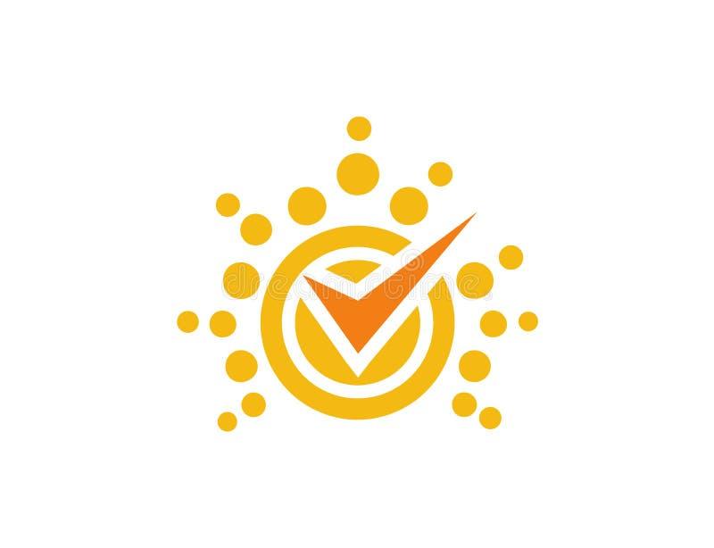 Logo luminoso di affari della lista di controllo di Sun fotografia stock