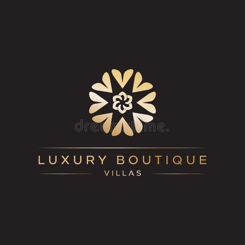 Luxury Boutique Logo design vector icon illustration inspiration with love rotated forming floral or flower stock illustration