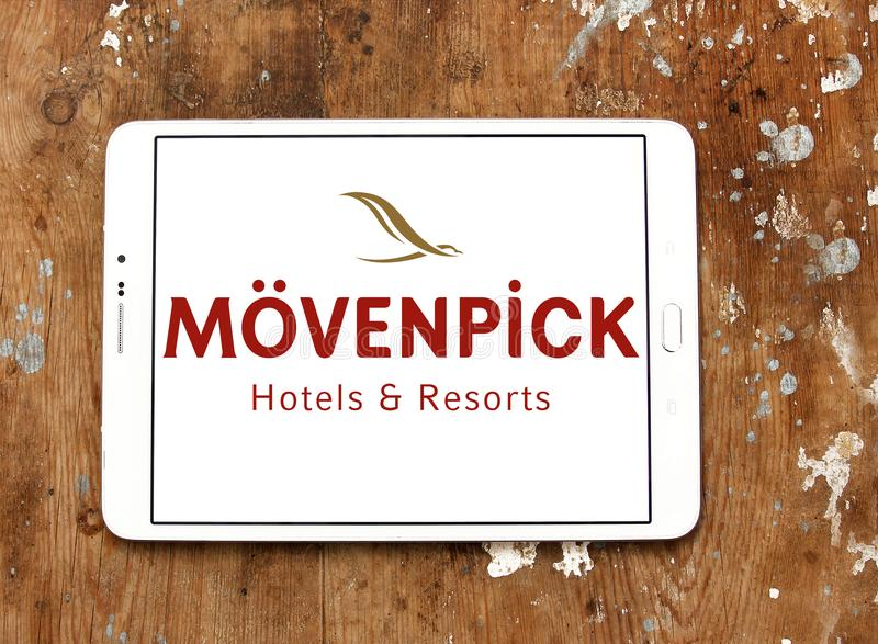 Mövenpick Hotels and Resorts logo. Logo of Mövenpick Hotels & Resorts on samsung tablet. Mövenpick is a hotel management company headquartered in Baar stock photo
