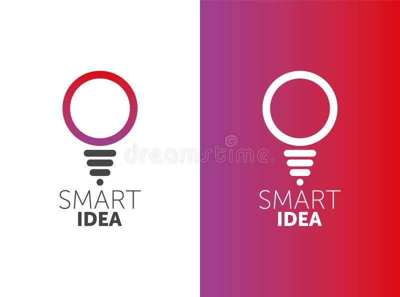 LOGO mądrze pomysł wektorowy żarówka logotyp 2 koloru gradientowego okr?gu kszta?t ilustracja wektor