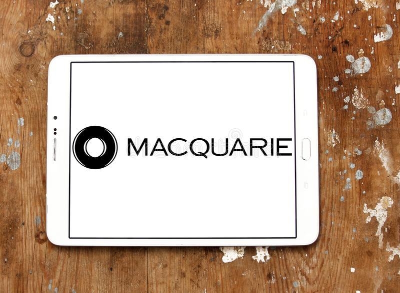 Macquarie financial services Group logo. Logo of Macquarie Group on samsung tablet. Macquarie is a global investment banking and diversified financial services stock photos