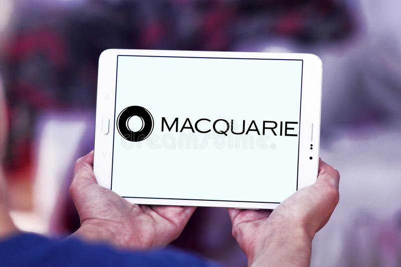 Macquarie financial services Group logo. Logo of Macquarie Group on samsung tablet. Macquarie is a global investment banking and diversified financial services stock photo