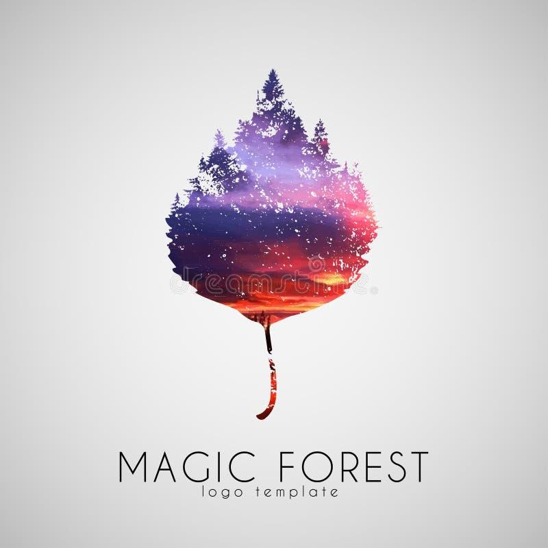 Logo magique de forêt Arbres de feuille Beau créateur photos stock