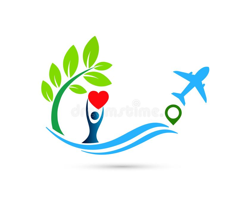 Beach water wave people airplane union wellness celebration boat concept symbol icon design vector. On white background royalty free illustration