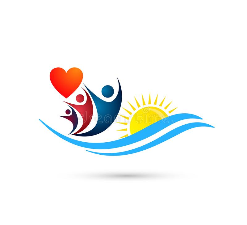 Sun beach water wave people team work red heart love union wellness celebration group work concept symbol. Icon design vector on white background royalty free illustration