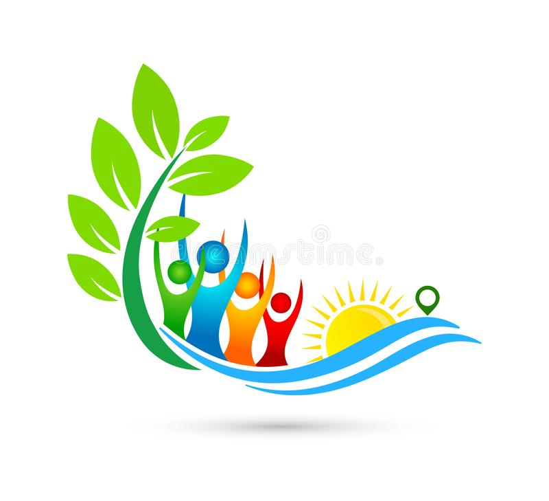 Sun beach water wave people team work red heart love union wellness celebration group work concept symbol. Icon design vector on white background stock illustration