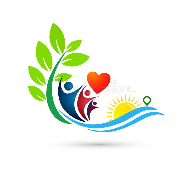Sun beach water wave people team work love union wellness celebration group work concept symbol. Icon design vector on white background vector illustration